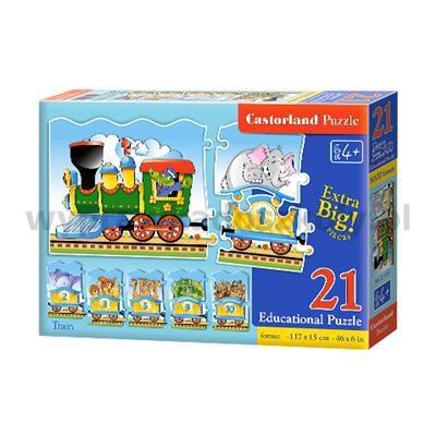 Puzzle edukacyjne Pociąg 21 elementów długość 117