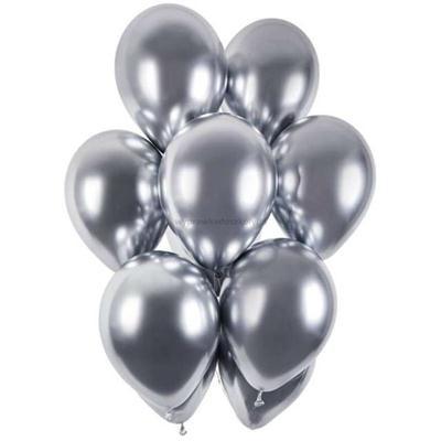 "Balony ""Shiny"", srebrny chrom, Gemar, 13"",cena/szt-34338"