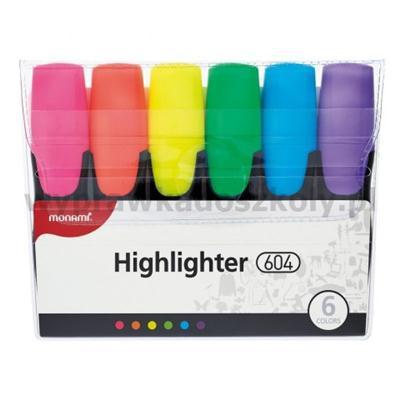 Zakreślacze Monami 604 6 kolorów fluorescencyjne