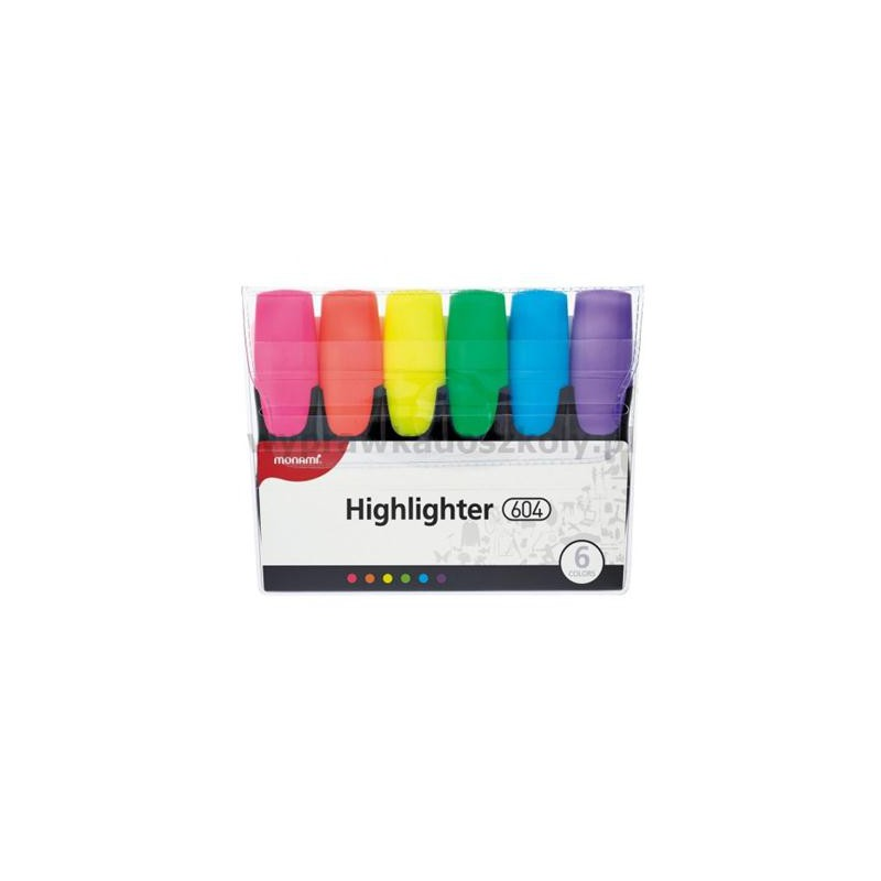 Zakreślacze Monami 604 6 kolorów fluorescencyjne-34405