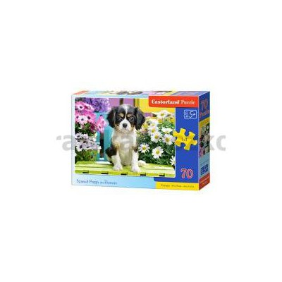 Puzzle 70 Spaniel Puppy in Flowers-34081