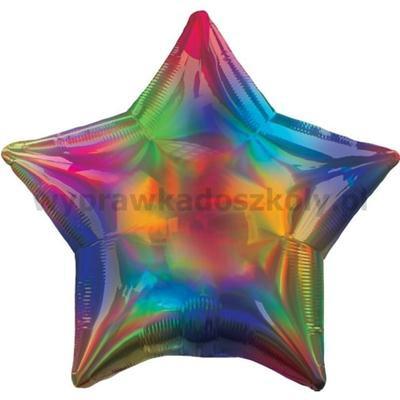 Balon foliowy gwiazdka opalizujący tęczowy - 46 CM-33501