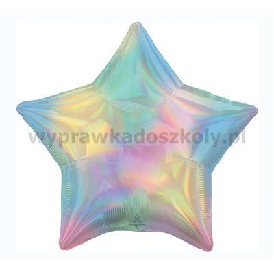 Balon foliowy gwiazdka opalizujący pastelowy tęczo-33500