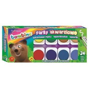 Farby akwarelowe BAMBINO 24 kolory duża pastylka-43011