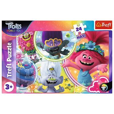 Puzzle 24-Maxi Muzyczny Świat Trolli 14318 TREFL-44733