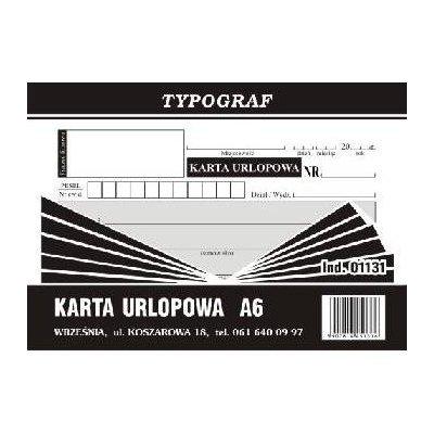 KARTA URLOPOWA A'6 01131-996