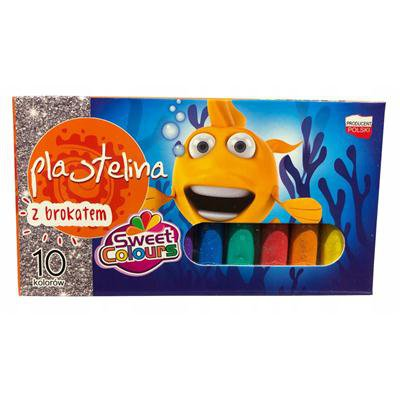 Plastelina 10 kolorów z brokatem Koma-Plast-38779