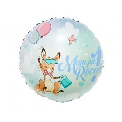 Balon foliowy błękitny Mam już roczek z kangurkiem-44388