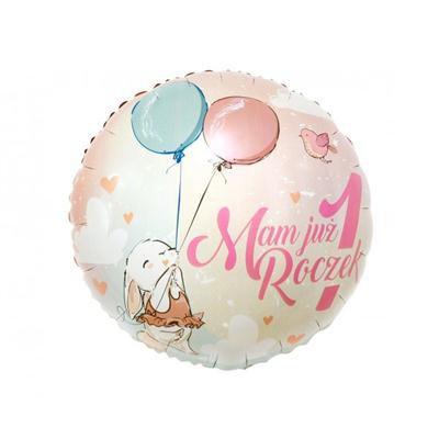 Balon foliowy różowy Mam już roczek z króliczkiem-44317