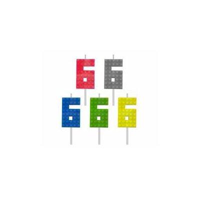 Świeczka urodzinowa Klocki, cyfra 6, wys. 5.5 cm-44333