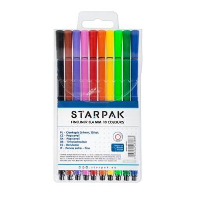 Cienkopisy 10 kolorów okrągłe 0,4 mm STARPAK-34718