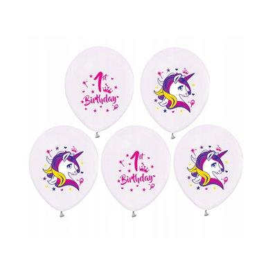 """Balony 1 Urodziny (jednorożce), 12""""/ 5 szt.-41245"""