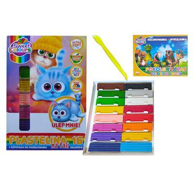 Zestaw plastelina 16 kolory wyklejanka i szpatułka-53102
