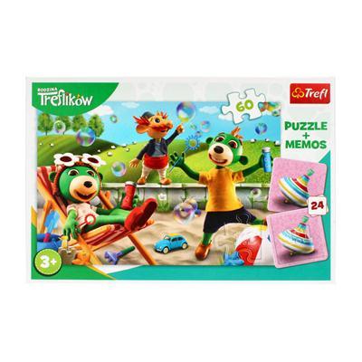 Puzzle 60 elementów z memos Rodzina Treflików-54856