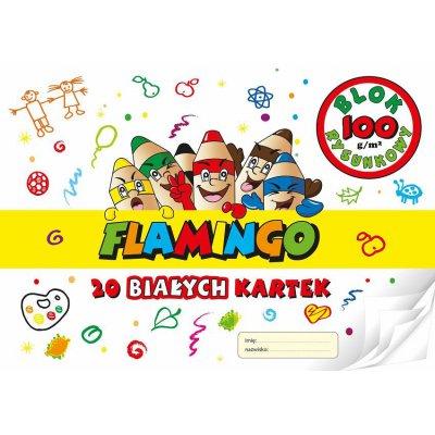 Blok rysunkowy Flamingo biały A4 20 kartek 100g/m
