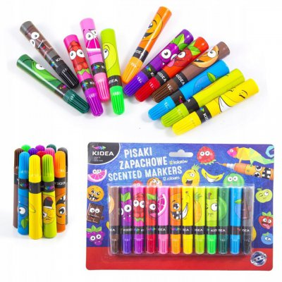 Pisaki zapachowe owocowe KIDEA 12 kolorów