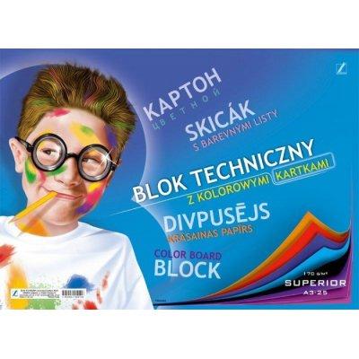 Blok techniczny kolorowy A3 170g 25 kartek Kreska