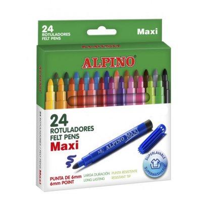 Zmywalne flamastry 24 kolory ALPINO Maxi