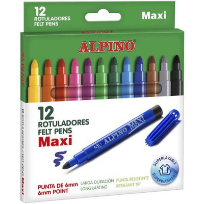 Zmywalne flamastry 12 kolorów ALPINO Maxi