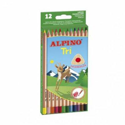 Kredki ołówkowe trójkątne 12 kolorów Alpino Tri