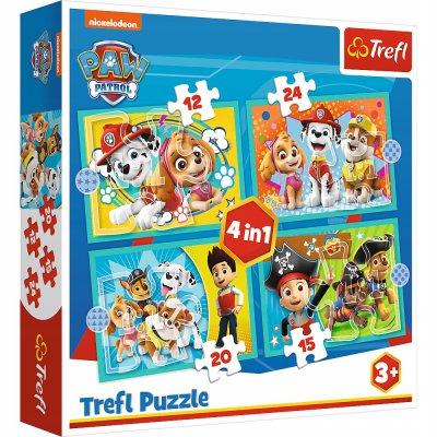 Puzzle 4w1 Wesoła ekipa Psiego Patrolu. Paw Patrol
