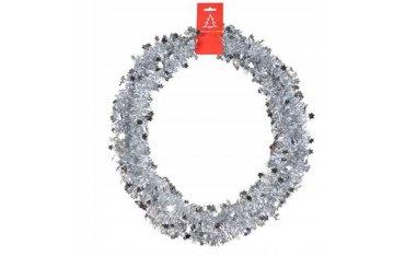 Łańcuch z gwiazdkami/ śnieżynkami srebrny