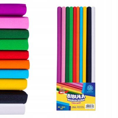 Astra Bibuła marszczona mix 10 kolorów 50 x 200 cm
