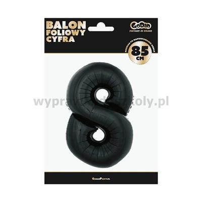 """Balon foliowy """"Cyfra 8"""", czarna, 85 cm"""