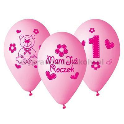 """Balony Premium """"Moje 1 urodziny różowy12"""" 5szt"""