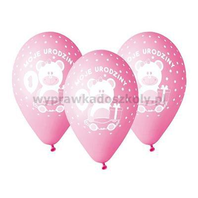 Balony Premium Moje 1 Urodzin, dla dziewczyn 5szt