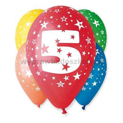 """Balon 12"""" z nadr. """"5"""", pastel mix / 5 szt."""