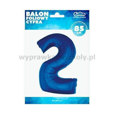 """Balon foliowy """"Cyfra 2"""", niebieska, 85 cm"""