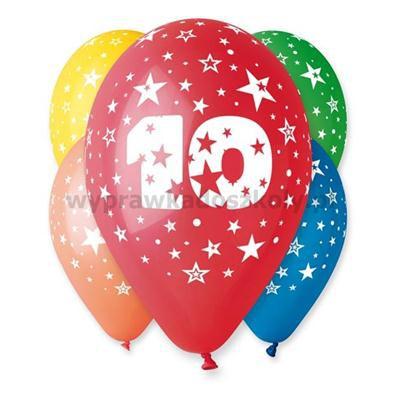 """Balon 12"""" z nadr. """"10"""", pastel mix / 5 szt."""