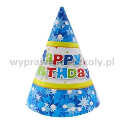 """Czapeczki papierowe """"Happy Birthday niebieskie"""", 6"""