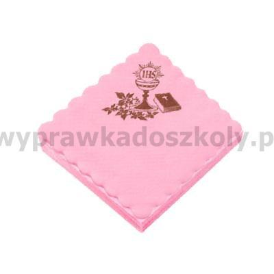 SERWETKA KOMUNIA RÓŻOWA 15x15 100SZT-32996
