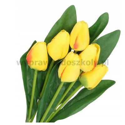 Tulipan bukiet żółty 6 kwiatów l 40cm gł.d3,5cm