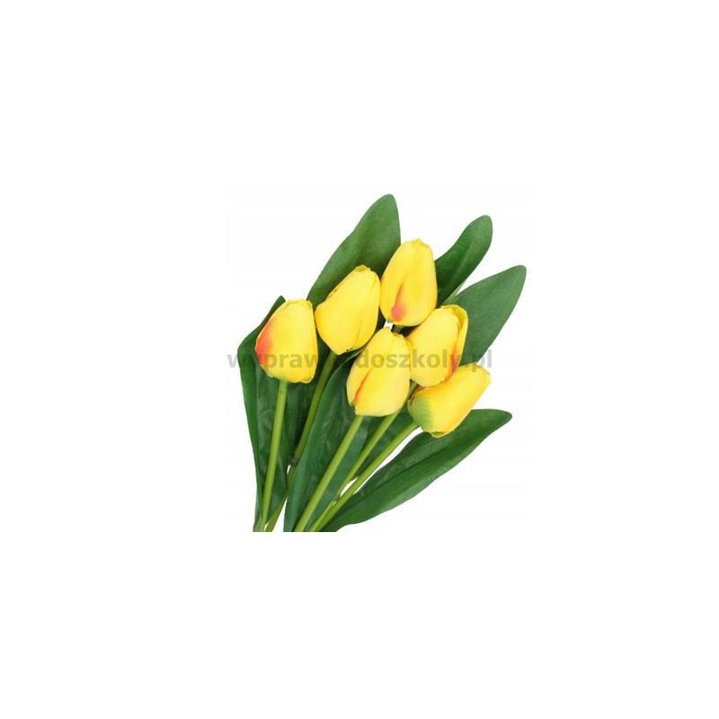 Tulipan bukiet żółty 6 kwiatów l 40cm gł.d3,5cm-33340